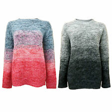 New Ladies Womens Brushed Fluffy Knit Designer Ombre Effect Oversized Jumper