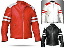 FIGHT CLUB BRAD Pitt Men BIKER New Fashion  REAL LEATHER Smart JACKET BNWT