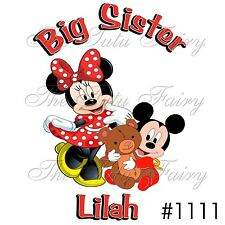 big sister little brother minnie mickey mouse personalized custom name shirt tee