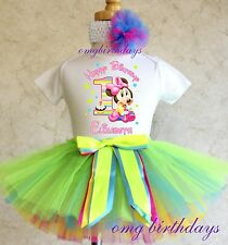 Baby Minnie Mouse Birthday Girl Rainbow Tutu outfit Shirt headband 1st first 1