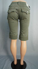 AUTHENTIC TRUE RELIGION $198 WOMENS FADED OLIVE GREEN KNEE LENGTH W/FLAPS SHORTS