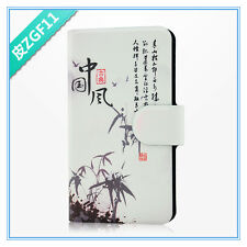 hot sale Chinese culture calligraphy scenery PU leather flip case cover for HTC