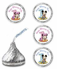 108 MICKEY MINNIE MOUSE 1ST BIRTHDAY PARTY KISSES FAVORS LABELS STICKERS DECALS