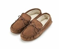 GENTS GENUINE SUEDE MOCASSIN SLIPPERS HARD SOLE IN LIGHT BROWN SIZES 5 TO 13