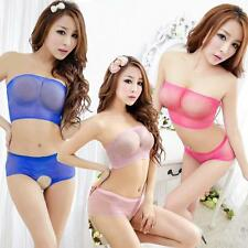 VARIOUS 2PC Ladies Micro Fishnet Crotchless Brief with Matching Boobtube Top Set