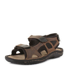 MENS DARK BROWN REAL LEATHER VELCRO STRAP ACTIVITY OUTDOOR WALKING SANDALS SIZE
