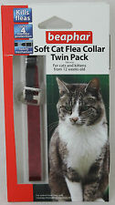 BEAPHAR CAT FLEA  TWIN PACK 2 COLLAR RED FOR CAT & KITTEN OVER 12 WEEKS OLD