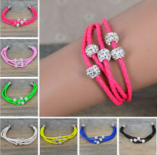 Leather Braided Wristband Cuff Magnetic Buckle Crystal Bead Bracelet,Hot