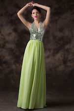 Sewy Halter Style Backless Formal Chiffon Ball Gown Evening Prom Party Dresses