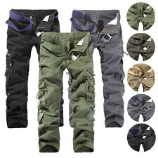 Men's Casual Military Cool Army Cargo Trousers Cotton Camo Combat Work Pants