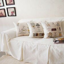 Vintage Style White Cotton Love seats Couch Cover Throw Sofa Cover 0047
