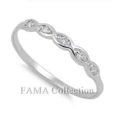 FAMA 925 Sterling Silver Infinity Wedding Dress Ring Paved CZ Stones Size 5-8