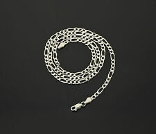 """925 STERLING SILVER  22 24 28"""" INCH FIGARO CHAIN LINK NECKLACE"""