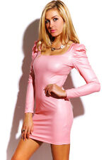 Solid Pink faux leather power shoulder long sleeve fitted clubbing mini dress