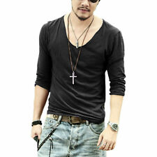 Men's Exclusive Pretty Tops Deep V Neck Long Sleeve T Shirts With Cut Off Border