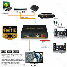 HDMI Audio Extractor + Optical + RCA Digital to Analog Hifi Converter Splitter