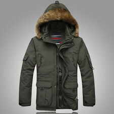 Men's Duck Down Coat Fur collar Detachable Outwear Warm Hooded Long Jacket Parka