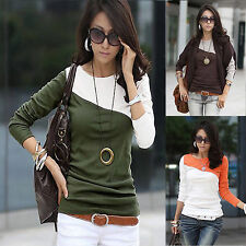 HOT Women Lady Fashion Long Sleeve Crew Neck T-Shirt T Shirt Tops Blouse Tee