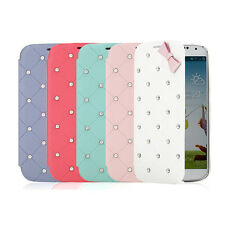 Bling Pearl Diamond Flip Leather Case Cover For Samsung Galaxy Note 2 US Seller