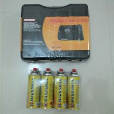 PORTABLE COOKING GAS STOVE WITH CARRY CASE + 4 CANISTERS