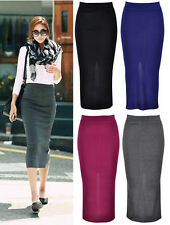 ♡IT♡  Simple Bodycon Knit Jersey Tube Skirt Back Split Stretchy Long Knitted