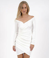 """Izzy"" White Bardot Wrap Bodycon Long Sleeve Mini Dress Sizes 6 8 10 12 New"