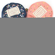 Women Canvas Floral Flower Round Card Key Zip Coin Case Wallets Pouch Bag Purses