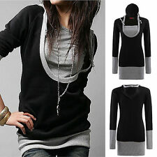 New Women's Long Sleeve Top Hoodie Womens Hooded Jacket Sweatshirt Tee-shirt