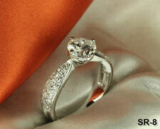 STERLING SILVER  PAVE ROUND CZ ANNIVERSARY RING ENGAGEMENT RING WEDDING RING S9