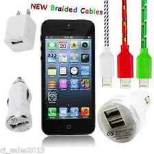 Braided Cable Kit for iPhone 5 5c, 5s 8-pin, Wall Charger, Car Charger iOS 7 LOT