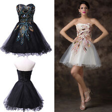 ~CHEAP~Black/White A-Line Peacock Bridesmaids Brides Party Formal Short Dresses