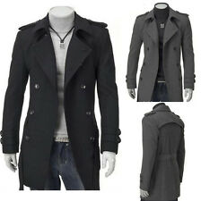 HOT Men's Slim Stylish Trench Coat Winter Long Jacket Double Breasted Overcoat
