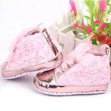 Cute Baby Kids Girls Shoes Soft Soled Shoes Rose Flower Lace Up Shoes Prewalker