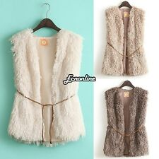 Winter Warm Women Hooded Vest Hoodie Coat Faux Fur Long Jacket Waistcoat Tops
