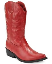 Womens Red Cowboy Western Cowgirl Boot Pointy Toe Rodeo Rampage Wellington