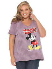 Disney Mickey Mouse Distressed Graphic Light Purple Plus Size Womens T-Shirt