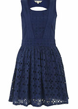 Yumi Navy Blue Pick and Mix embroidery skater dress