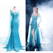 Frozen Princess Elsa snow queen women Dress skirt cosplay costume Fancy Dress