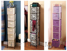 Slim 6 Drawer Bin Storage Organizer Unit Zebra Natural Purple NEW