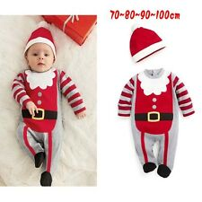 Baby kids boy Christmas Jumpsuits XMAS hat Girl Romper outfits + baby headbands