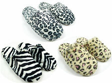 Ladies Animal Print Leopard or Zebra Mules Furry Slippers UK Shoe sizes 3 to 7