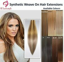 European Style Synthetic Weave On Hair Silky Straight Hair Extensions 100G Each