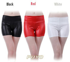 Synthetic Leather Short Pants Cheerleading Shorts Posh Elastic High Waist 11330