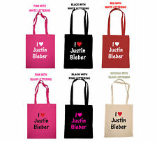 JUSTIN BIEBER I LOVE HEART SCHOOL SHOPPING TOTE BAG SEXY BIRTHDAY GIFT PRESENT