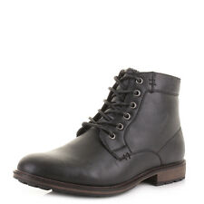 MENS BLACK LEATHER STYLE CASUAL MILITARY FASHION LACE UP ZIP BOOTS SHOES  SIZE