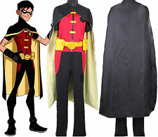 Young Justice Robin Outfit Cosplay Costume Gloves Belt Bag Full Set for Men