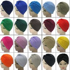 15 Colors Indian Plain Turban Hats Cap Chemo Hijab Hairband Bandana Headwrap
