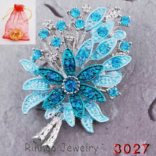 Christmas Tree Flower With Crystal Rhinestone Brooch Pin Silver Bonquet Gift New