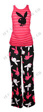 WOMENS 2PC STRIPED PLAYBOY BUNNY TANK & PANT PAJAMAS LOUNGE WEAR NEW~(SIZES S-L)