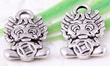 Wholesale 30/65Pcs Tibetan Silver  Dragons Charms Pendant 13x8mm